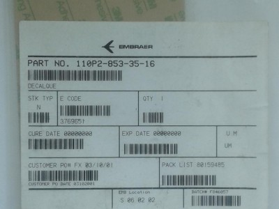 Detalhes da aeronave 110P2-853-35-16